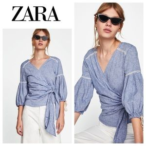 Zara Wrap Style Large Chambray Tassel blouse EUC